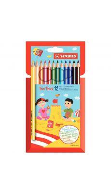 STABILO - Crayons de couleurs assorties triangulaire - Lot de 12 pochettes de 12