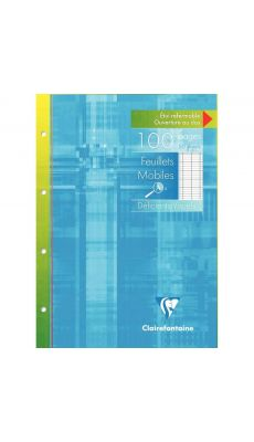 Clairefontaine - 17499C - Feuille mobile A4 grand carreaux perforée - Etui de 50