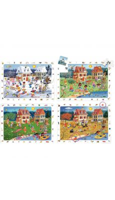 """Puzzles d'observation soft de 24 pièces """"Les saisons"""" - Lot de 4"""