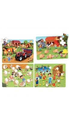 """Puzzles soft de 15 pièces 4 en 1 """"La ferme"""" - Lot de 4"""