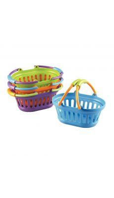 Paniers à provisions en plastique robuste, couleur assorties, petits modèles - Lot de 4