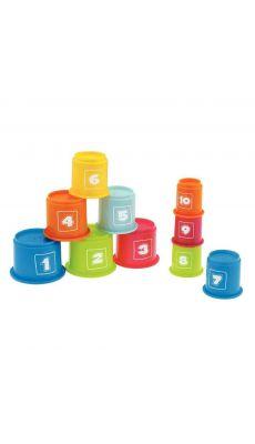Pyramide de 10 tasses gigognes en plastique assorties.