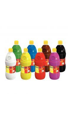 Carton de 8 flacons de 1L de gouache GIOTTO bébé, Couleurs assorties: blanc, noir, marron, jaune, rouge, magenta, cyan et vert
