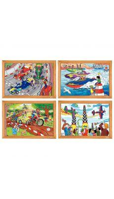 Puzzles en bois assortis, les sports extrêmes - Lot de 4
