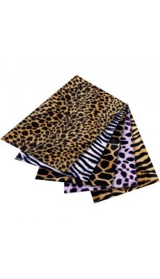 Feuilles tissu pelage safari adhésif, format : 50 x 70 cm.  Aspect peluche - Lot de 5