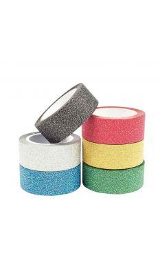 Rubans adhésifs pailletés motifs unis - Lot de 6 coloris assortis