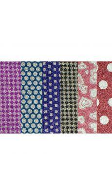 Pochette de 6 feuilles pailletés adhésives motifs imprimés
