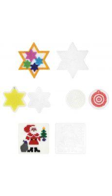 Plaques préformées pour perles Hama taille midi motifs noël - Sachet de 7