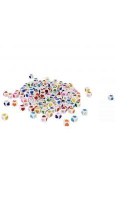 Perles carrées imprimées cœurs sur chaque côtés, couleurs assorties - Sachet de 1000