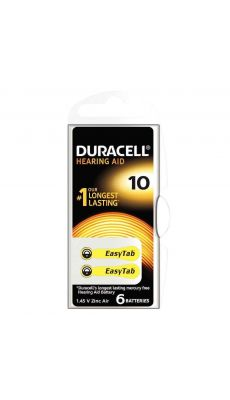 Duracell - 077559 - Pile auditive Easy tab 10 - Blister de 6