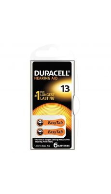 Duracell - 077566 - Pile auditive Easy tab 13 - Blister de 6