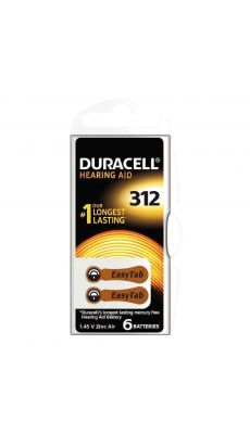 Duracell - 077573 - Pile auditive Easy tab 312 - Blister de 6