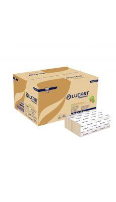 LUCART - 864043R - Essuie mains plié en Z 24x22.5 Natural 2 plis - Boite de 15 paquets de 200 feuilles