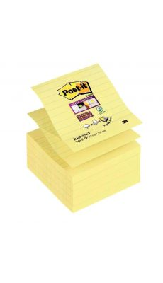 POST-IT - Bloc de 90 feuilles Z-Notes Super Sticky jaune lignées, format 101x101 mm - lot de 5