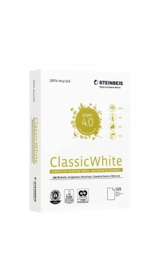 STEINBEIS - Ramette papier A4 ClassicWhite 100% recyclé 80g - Blanc