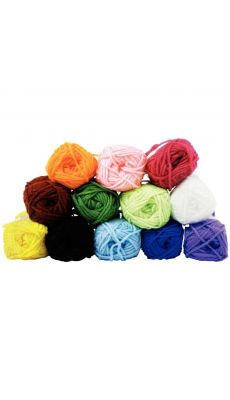 Pelotes de laine acrylique, 25 grammes, coloris assortis - Lot de 12