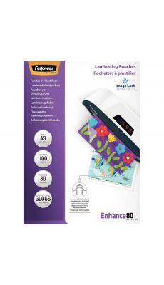 Fellowes - CRC 53062 - Pochette de plastification A3 - 80 microns - Boite de 100