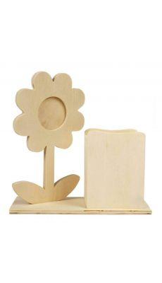 Set de bureau avec Fleur porte-photo et pot à crayons en bois