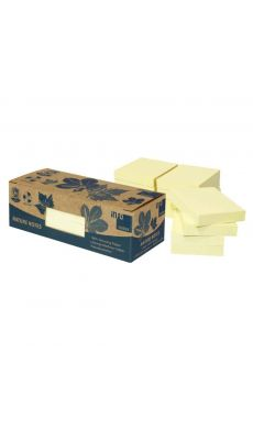 M GREEN - 777381 - Bloc notes repositionnables recyclées 40x50 mm jaune - Lot de 12
