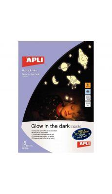 APLI AGIPA - 10424 - Etiquette phosphorescente A4 - Coloris blanc - Pochette de 5