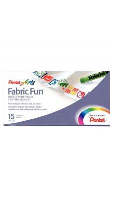 PENTEL - PTS-15 - Crayons pastels pour tissus assortis - Boite de 15