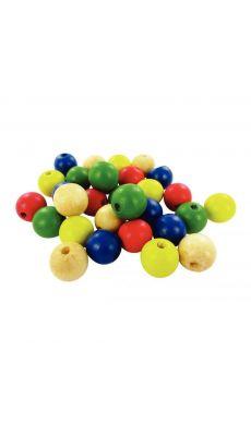 Perles en bois couleurs assorties, diamètre 15 mm - Sachet de 30