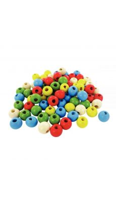Perles en bois couleurs assorties, diamètre 10 mm - Sachet de 95