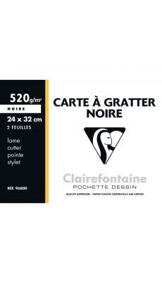 Clairefontaine - 96800C - Carte à gratter noir - 24x32 cm - Pochette de 2