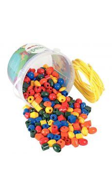 Perles en plastique 7 formes et 5 couleurs - seau de 245