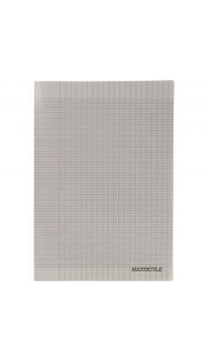 Cahier piqure 48 pages - 24x32cm - séyès 90g - Couverture polypropylène grise