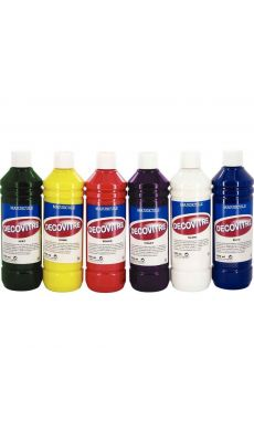 Lot de 6 flacons 500 ml de peinture DECOVITRE
