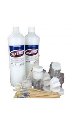 Lot de 2 flacons 1L de colle gel extra forte + 12 pots 50ml vides + 20 pinceaux