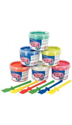 Peinture relief 3D couleurs pailletées + 6 spatules offertes - Lot de 6 pots de 180g