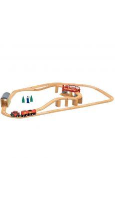 Circuit de train en bois,  47 pièces