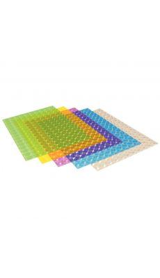 Feuilles transparentes 3D format 23 x 33 cm 150 microns couleurs assortis - Sachet de 5