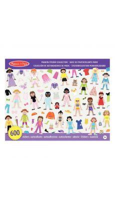Stickers non repositionnables de 10 thèmes modes - Pochette de 600