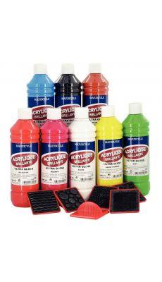 """Coffret de 8 flacons 500 ml de peinture acrylique """"ULTRA GLOSS"""", couleurs classiques"""