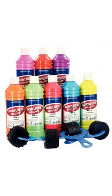 """Coffret de 8 flacons 500 ml de peinture acrylique """"ULTRA GLOSS"""", couleurs pep's"""