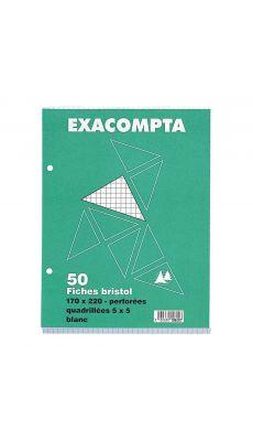 Exacompta - 10620E - Fiche bristol blanche petit carreaux 170x220mm perforée - Paquet de 50