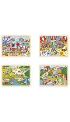 Puzzles à cadre en bois 24 pièces, LES LOISIRS - Lot de 4