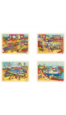 Puzzles à cadre en bois 35 pièces, LES TRANSPORTS - Lot de 4