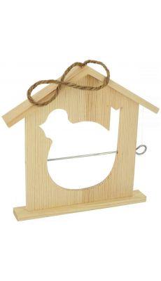 Mangeoire à oiseaux en bois à décorer - Lot de 10