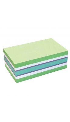 Bloc cube de 450 feuilles notes repositionnables 125 x 75 mm, coloris pastels assortis : vert, violet, bleu et blanc