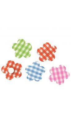 Mini déco en tissu adhésif, motif vichy - Lot de 24