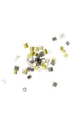 Perles tubes à écrasées assortis - coloris : or, argent et noir - Sachet de 180