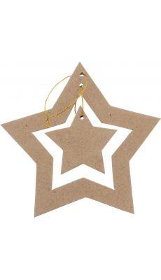 Suspensions doubles étoiles, en carton épais à décorer - Lot de 10
