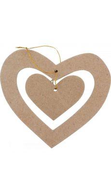 Suspensions doubles cœurs, en carton épais à décorer - Lot de 10