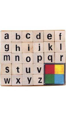 Set de 26 tampons alphabet minuscule + encreur