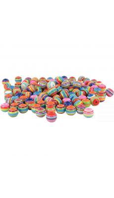 Perle rondes multicolores, diamètre 12 mm - Sachet d'environ 200