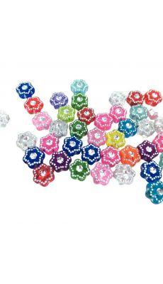 Perles translucides assorties forme étoile argentée avec strass au centre - Bocal environ 1500